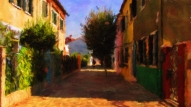 Burano - Alley With Tree - Oil Painting - Hand Signed