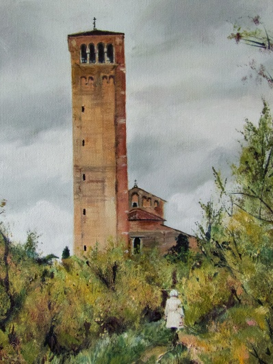 Art - Wonky Man and Tower - Oil on Canvas 20x24 - Building and Woman Detail - 3T