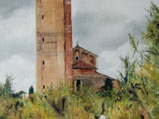 Art - Wonky Man and Tower - Oil on Canvas 20x24 - Church Building - 3T