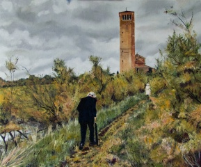 Art - Wonky Man and Tower - Oil on Canvas 20x24 - Digital Signature - 3T