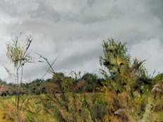 Art - Wonky Man and Tower - Oil on Canvas 20x24 - Foliage Detail - 3T