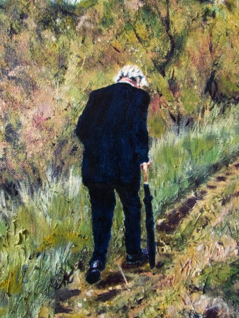 Art - Wonky Man and Tower - Oil on Canvas 20x24 - Man and Texture Detail - 3T
