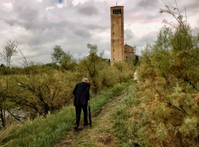 Torcello Man and Tower - Tonal Sky Cropped - Signed B Jones