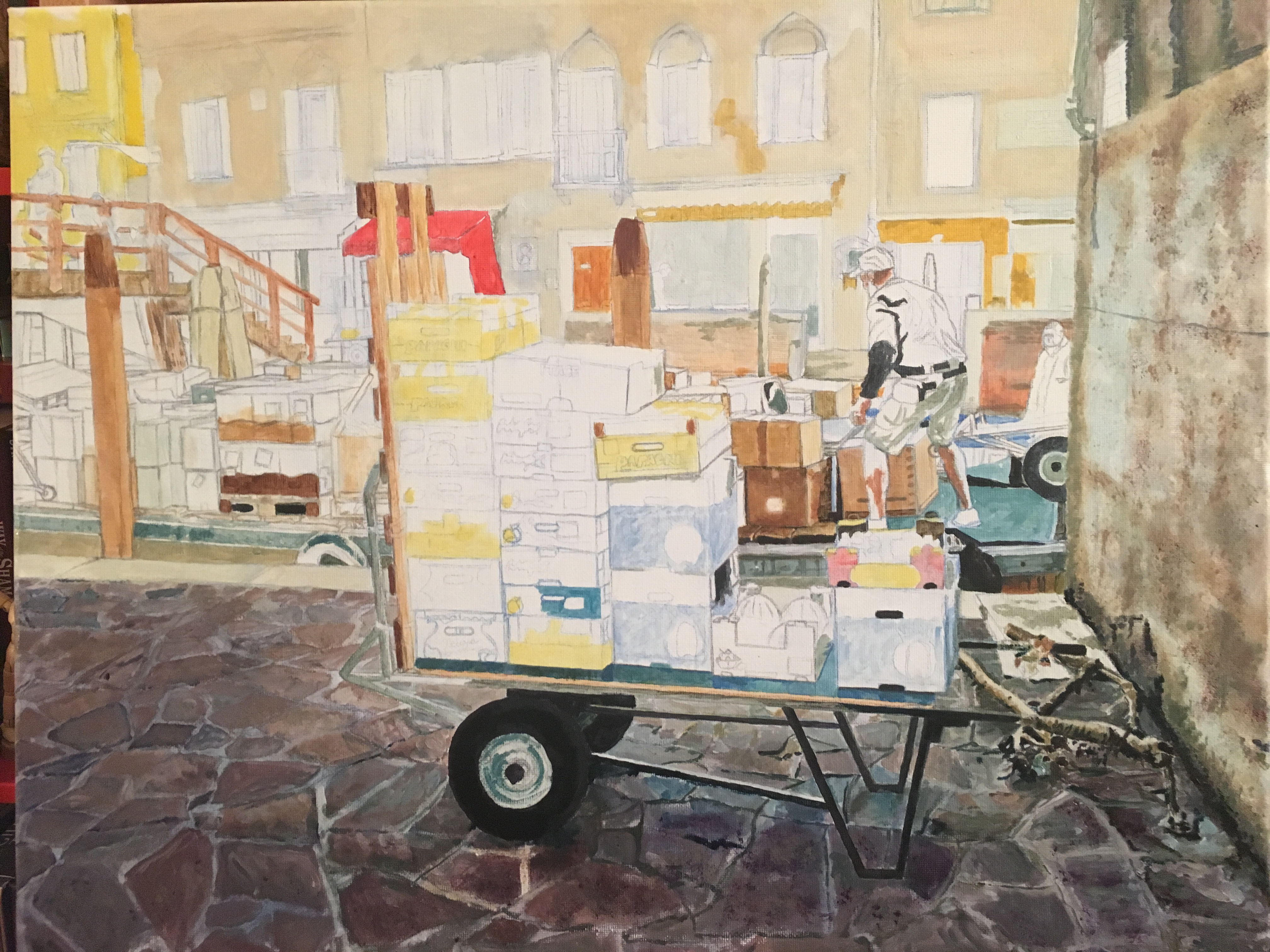 Painting of Fruit Cart – Venice – Layers and layers.