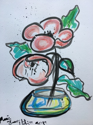 I created this with both acrylic inks and Aquarelle Sticks just to try and intensify the colour.