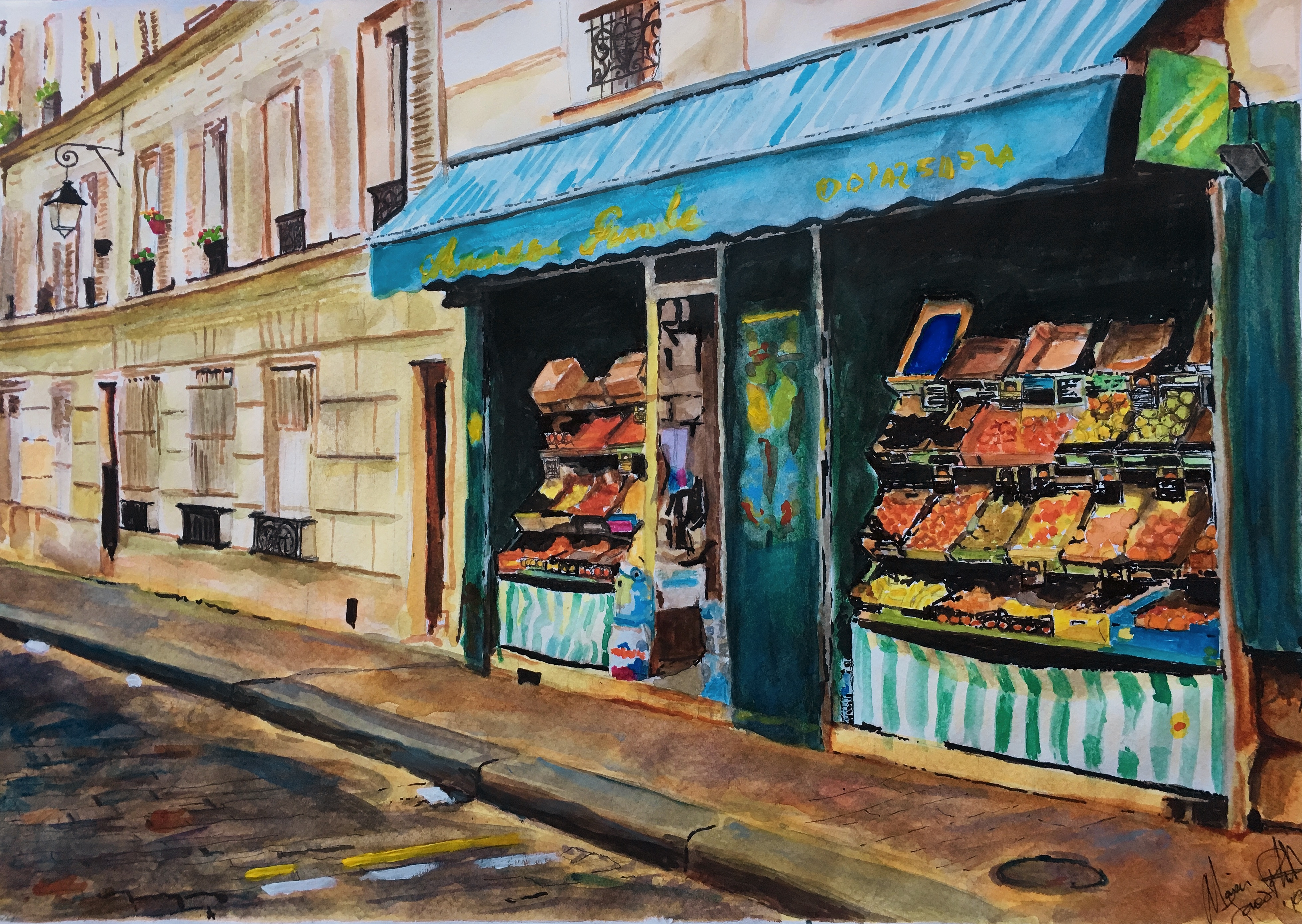Watercolour Sketch – Alimentation Sur La Rue Gabrielle