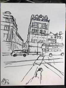 Sketch in black marker pen.