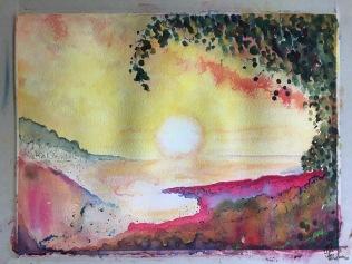 Sunset Scene - Watercolour, 9x12 in., 2020.