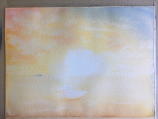 Sunset Scene - Watercolour, 9x12 in., 2020. Stage One.