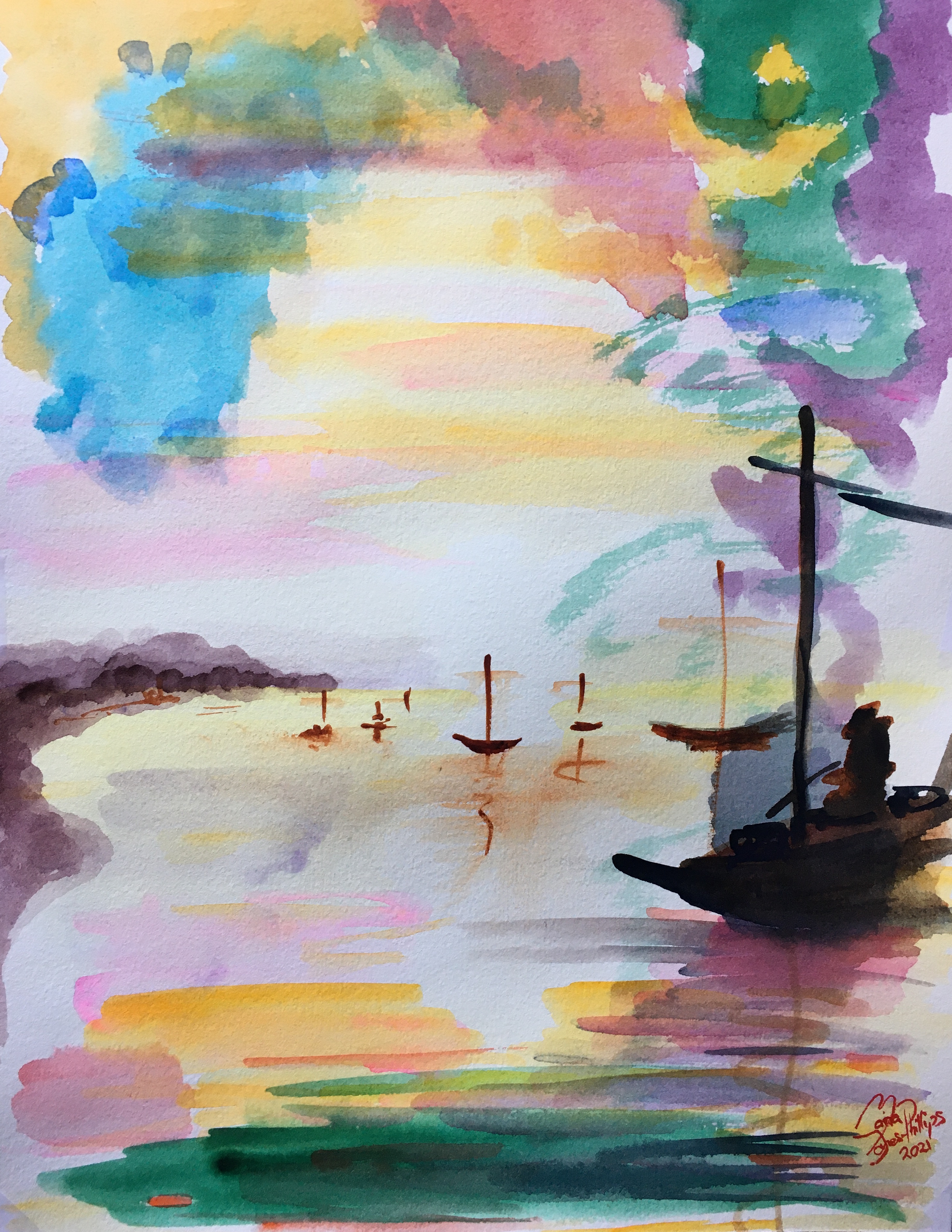 Sunset Watercolours